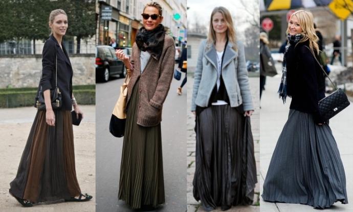 Как и с чем носить длинные юбки
